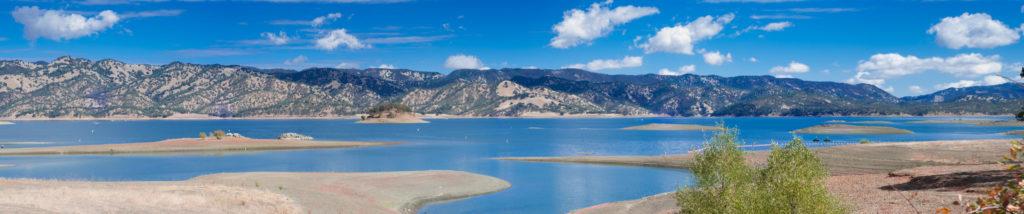A panoramic photo of Lake Berryessa.