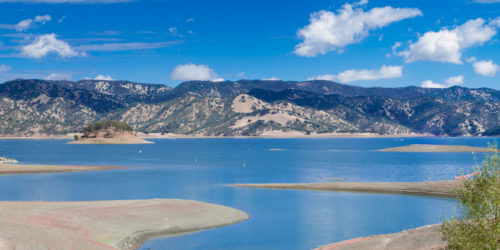 A panoramic photo of Lake Berryessa
